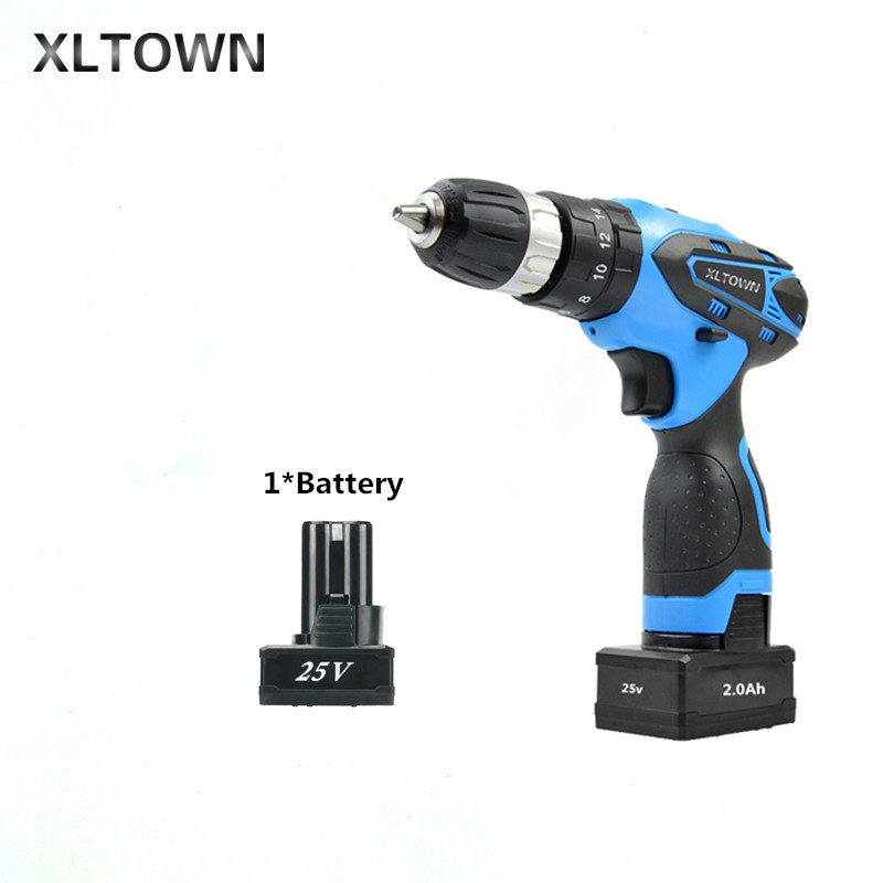 XLTOWN 25V 2000mA Impact Drill Rechargeable Lithium Battery Multifunction Electric Screwdriver Household Power Tools xltown 25v electric screwdriver home multifunction electric drill rechargeable lithium battery electric screwdriver power tools
