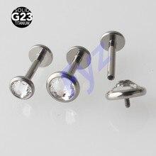 クリスタル宝石 G23 チタンラブレットリップピアス 16 グラム内部でスレッドの耳珠軟骨イヤリングらせんスタッドボディジュエリー