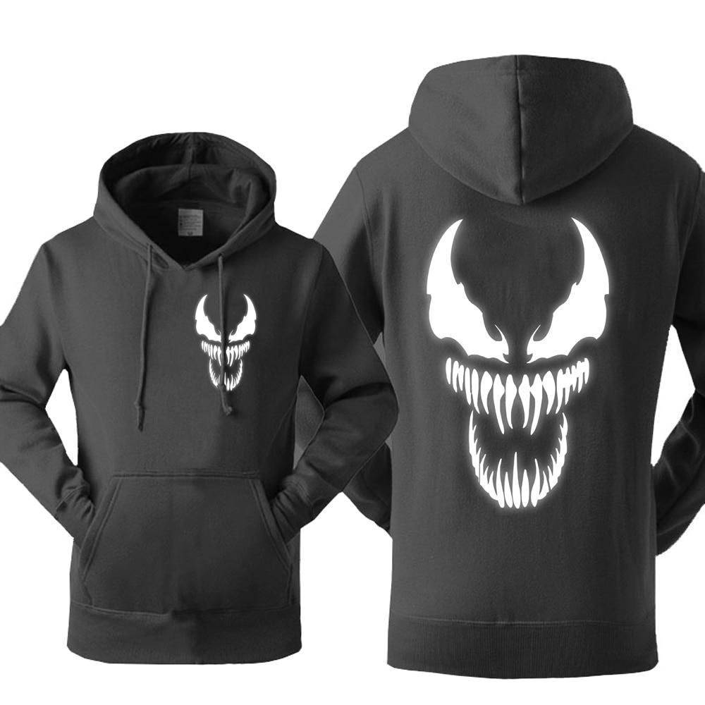 Spiderman Venom Hoodie Men Movie Night Glow Hooded Sweatshirts Harajuku Coat 2018 Fleece Light Noctilucent Streetwear Cool Hoody