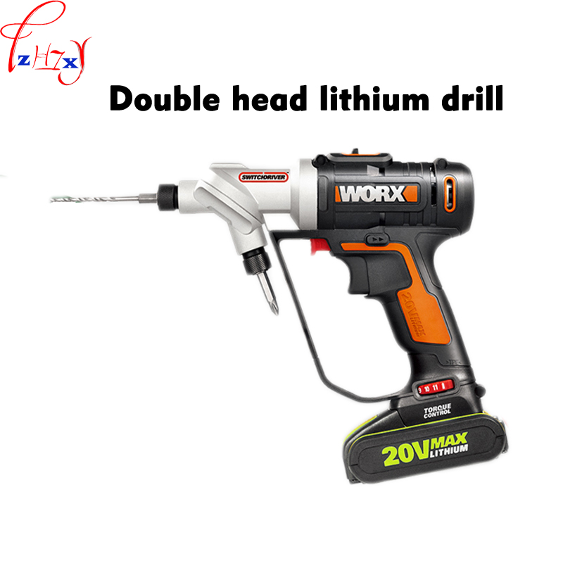 1pc WX176 Electric screwdriver double-head lithium electric drill switch the charging screwdriver quickly 20V extension for electric screwdriver set in six batch of electric screwdriver head angle cross head screwdriver import quality