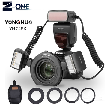 YONGNUO YN-24EX Macro Ring ETTL Flash Speedlite with 2 Flash Head 4 Adapter Rings for Canon DSLR 5DIII, 5DII, 5D, 7D, 7DII