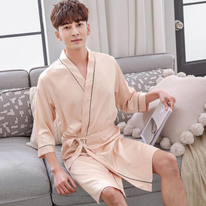 Summer Male Casual Robe Kimono Bathrobe L-XXL Navy Blue Men Sleepwear Solid  Color Nightwear Nightgown ... 248a18fa7