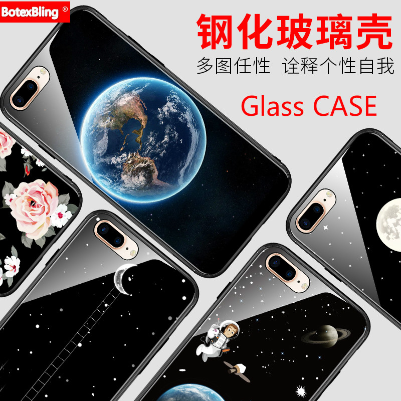 BotexBling Simple fashion marble floral glass phone case for iphone X 7 7plus 8 8plus 6 6s plus 6plus back cover cute astronaut
