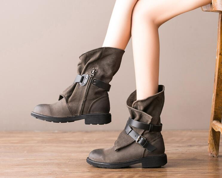 Luxury chaussure female Spring Autumn mid calf boots buckle strap decoration medium chunky heels low platform women black boots zippers double buckle platform mid calf boots