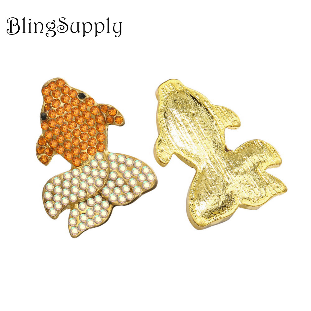 Free shipping 28 21mm colorful goldfish rhinestone button for handmade craft DIY 50PCS Lot BTN 5415