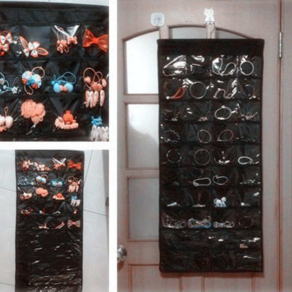 Double Sided 80 Pockets Hanging Jewelry Organizer Jewelry Display Earring  Rings Bracelets Storage Bags Brooch