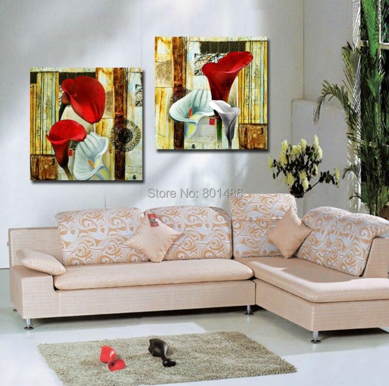 Panles rouge blanc calla lily impression peinture sur toile ...