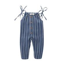 цены VTOM Baby Clothes Girls  Summer Strap Overalls Stripes Print Toddler Navy Blue Infant Kids Sleeveless Overalls For 1-4T Kids