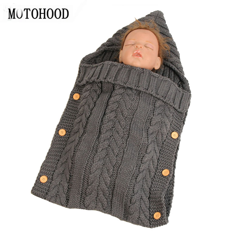 MOTOHOOD Newborn Baby Wrap Swaddle Blanket Knit Sleeping Bag Stroller Wrap For Baby Swaddle Blanket (Dark Gray) (0-6 Month)