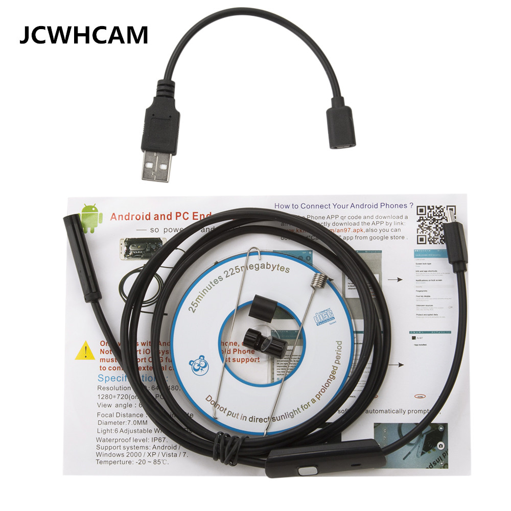 JCWHCAM 7mm Lens 1/1.5/2m Android Endoscope Mini Camera Inspection Android Borescope 6 Led lights PC USB Endoskop Camera eyoyo nts200 endoscope inspection camera with 3 5 inch lcd monitor 8 2mm diameter 2 meters tube borescope zoom rotate flip