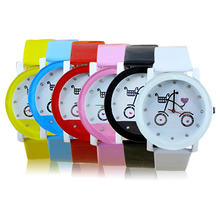 Hot Sales Lady Women Girls Wrist Watch Fashion Bicycle Pattern Faux Leather Strap Belt Quartz Cute Watches New Design 5D7Q 6YKP