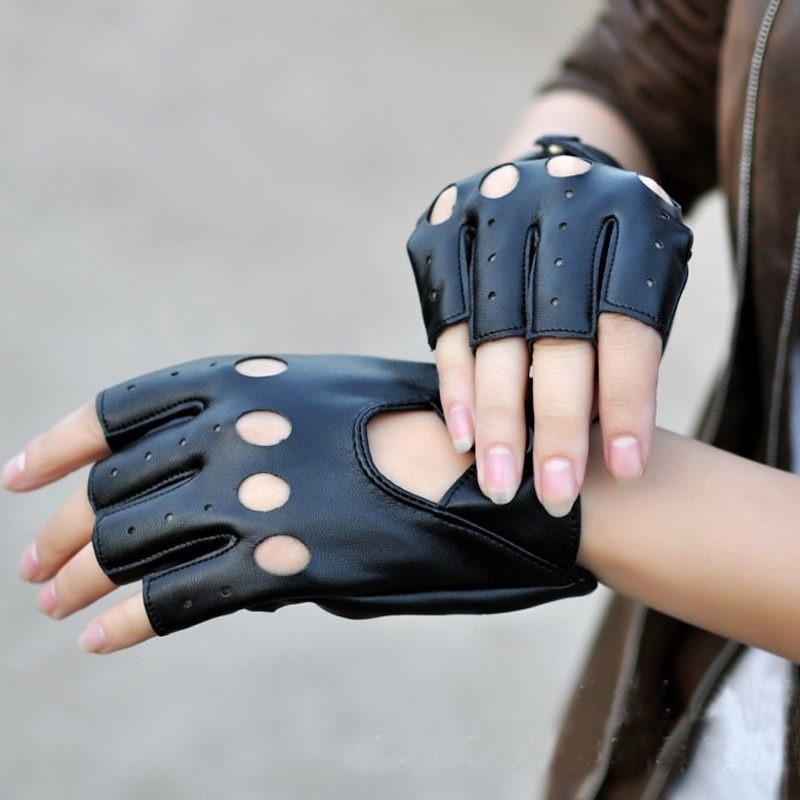 1 Pair Female Half Finger Driving Gloves 1 Pcs PU Leather Fingerless Gloves For Women Black