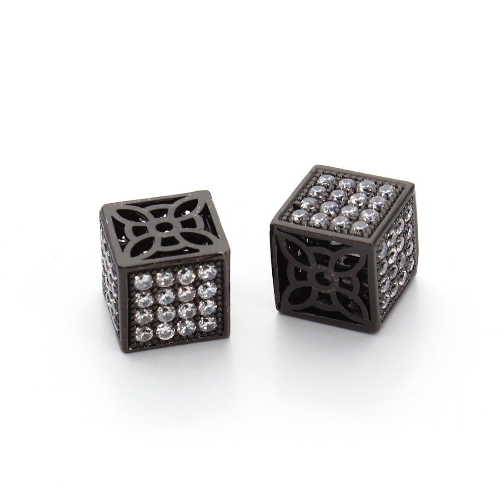 Beads Zircon Rhinestone Copper Charms Beads 12mm Gold/rhodium/black Color Bracelet Necklace Diy Jewelry 2pcs Square Cube Findings Jewelry & Accessories