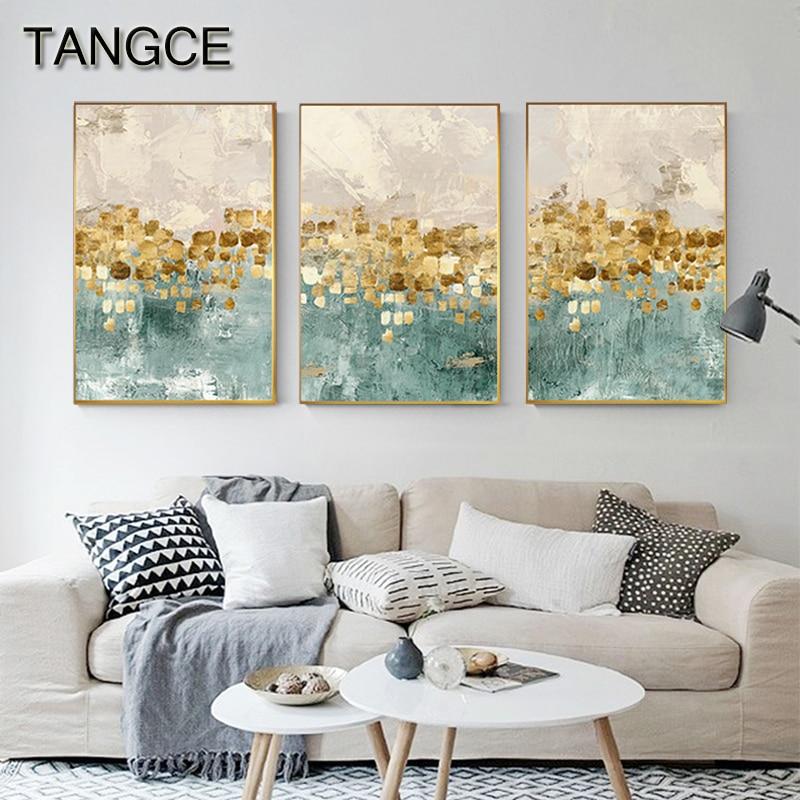 Abstrait pièces d'or étoile toile peinture Tiffany bleu impression n affiche Cuadros Decoracion Salon mode mur Art décoration de la maison