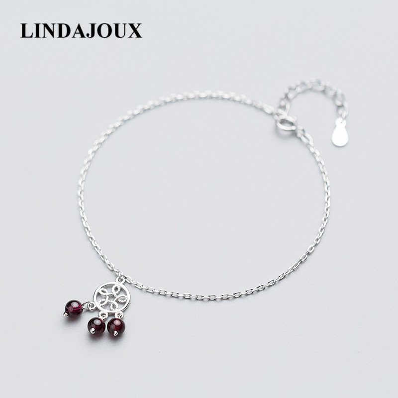 Korea Simple Style Hollow Flower Tassels Charm 925 Sterling Silver Anklet For Women Foot Chain Ankle Bracelets Summer Jewelry