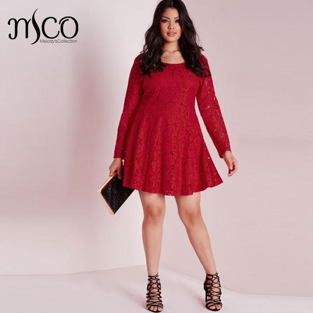 Vintage Premium Crochet Floral Lace Skater Dress Elegant Long Sleeve Red  Dresses Wedding wear Plus Size f179e1bce69e