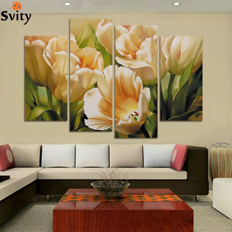 Fashion 4 Panel Wall Umělecká reprodukce Malba na plátně olejomalba Tulipánová malba Obrazy pro dekorace do obývacího pokoje H109