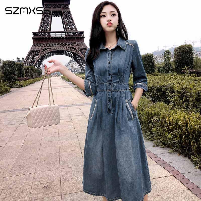 2018 new autumn high quality dress women Turn-down Collar Threee Quarter sleeve denim dress stitching long dress