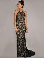 1032 Новое поступление плюс Размеры женская одежда без рукавов сексуальные Клубные пол Длина женское платье черный цветочный Кружево Halter Maxi