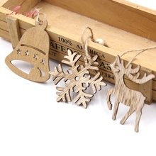 10PCS Vintage Christmas Snowflakes&Deer&Tree Wooden Pendants Ornaments Christmas Party Decorations Xmas Tree Ornaments Kids Gift