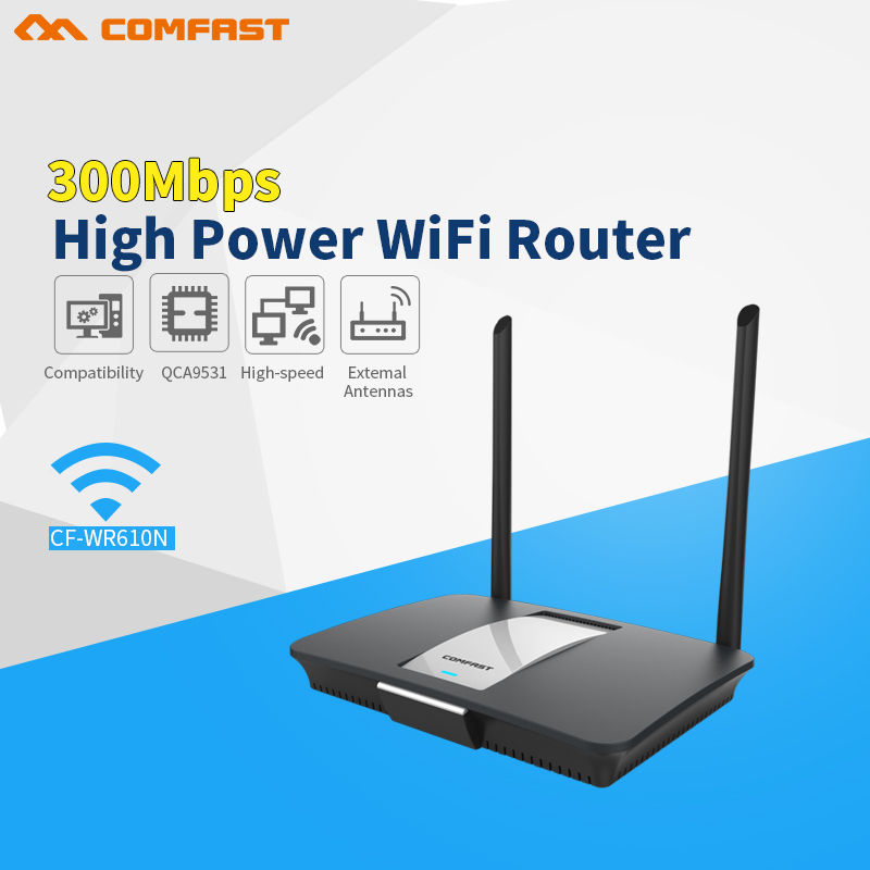 Comfast CF-WR610N 300Mbps high power wireless wi fi router with 14dBi Antenna AC controller+wireless router mode QCA9531 chipset comfast full gigabit core gateway ac gateway controller mt7621 wifi project manager with 4 1000mbps wan lan port 880mhz cf ac200
