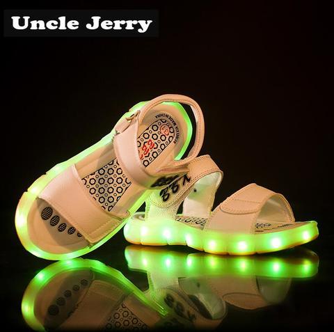 unclejerry luz led sandalias para meninos e meninas usb recarregavel sapatos de praia criancas verao