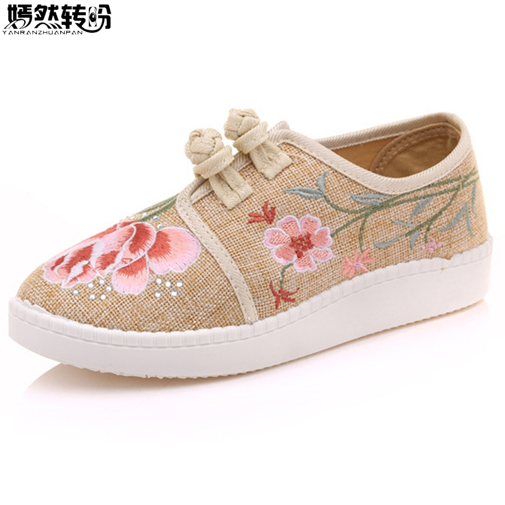 Women Casual Shoes Flats Embroidery Shoes Retro Leisures Comfort Cloth Loafers Lady Round Toe Linen Canvas Flat Plus Size 43 wegogo canvas women casual shoes embroidery national casual flat shoe embroidered travel shoes flats sapato feminino bordado