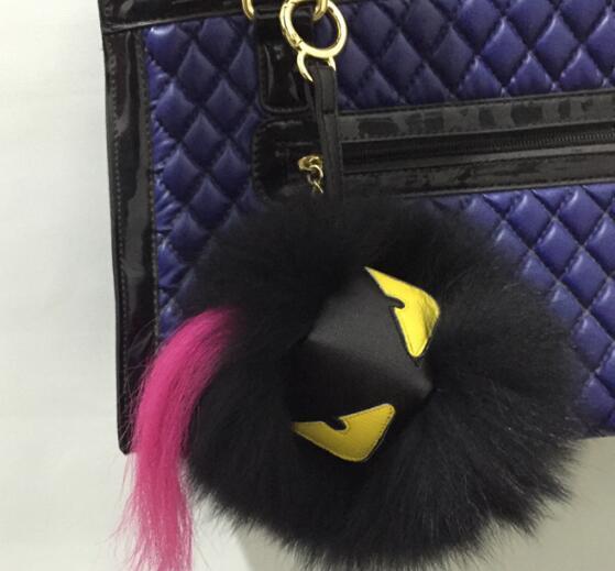 Black leather wallet Pom real fur monster doll fend keychain charm golf cart bag pendant strap fur pom pom  key chains Gifts