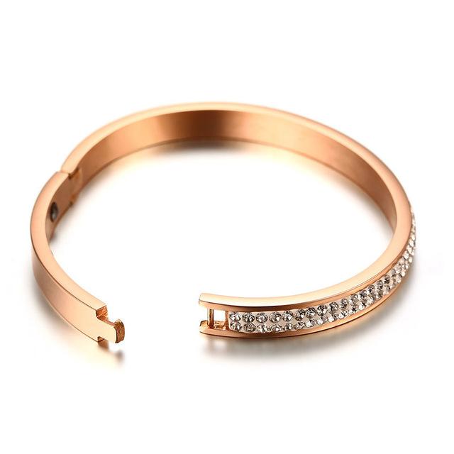 Hematite Magnetic Bracelet for Women with 2 Row Shiny Rhinestone