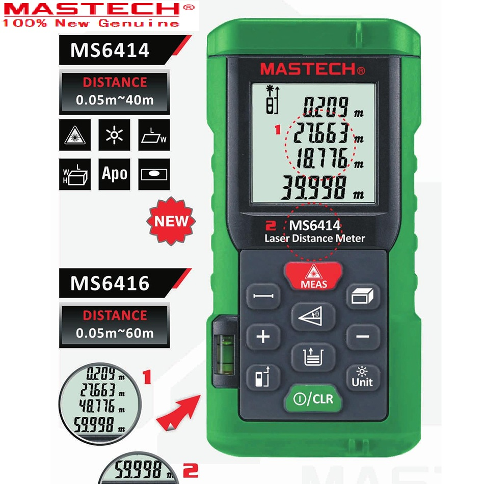 Digital Rangefinder 40M +/- 2mm Accuracy Laser Distance Area Volume Meter Laser Tape Measure With Bubble Level MASTECH MS6414 nf 2650 digital laser distance meter handheld laser rangefinder tape measure distance area volume in level tool lofting function