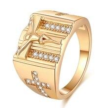 hot deal buy new design cross rings for women men luxury 14 k gold plating gold cubic zirconia ring jewelry wedding bands party women bijoux