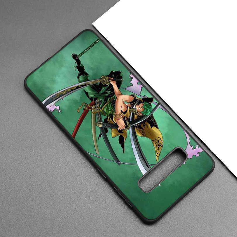 One Piece Roronoa Zoro Đen Ốp Lưng Silicon dành cho Samsung Galaxy Samsung Galaxy M20 S10e S10 S9 M10 S8 Plus 5G S7 s6 Edge M40 M30 Bao Coque