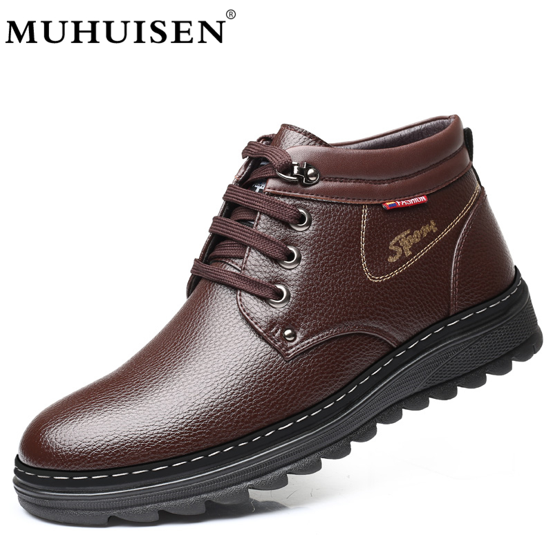MUHUISEN Brand Winter Men Genuine Leather Shoes Fashion Warm Working Plush Ankle Boots Casual Lace Up Flats Male Snow Boots цены