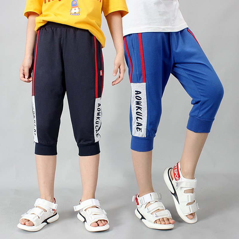 Summer cotton Teenager Calf-length boys   pants     Capri     pants   kids Cropped Trousers sports Sweatpants children clothing 110-160cm