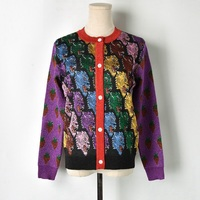 Runway Jacket Cardigan Female 2018 New Vintage Wolf Head Strawberry Pattern Lurex Jersey Knitted Sweater Women Jumper Top