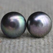 Идеальный настоящий пресноводный AAA 9 мм темно серый жемчуг серьги Модные ювелирные изделия серьги из серебра 925 для женщин
