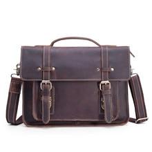 Genuine Leather Briefcase for Men 13 Inch Laptop Bag Real Leather Male Shoulder Handbag Business Men's Messenger Cross Body Tote цена в Москве и Питере