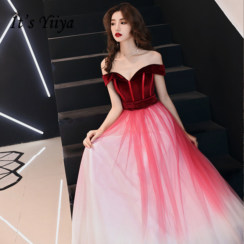 It's YiiYa Long   Evening     Dress   Wine Red Gradient Color Long Formal Gown Sexy Off The Shoulder Chiffon Party   Dresses   E030