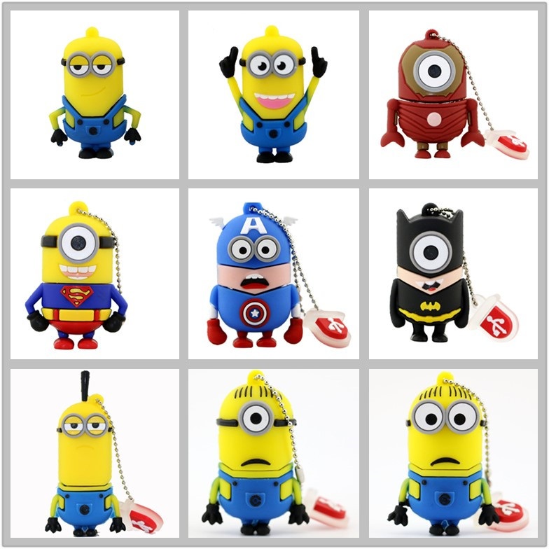 Superhero Minions Styles 4GB 8GB 16GB 32GB 64GB USB Flash Drive Cartoon Minion USB Stick Pen Drive Memory Stick Pendrives U Disk