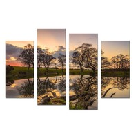 Hidden Lake Sunset Tree Art Decorative Wall Painting Print On Canvas For Home Decor Ideas Paints