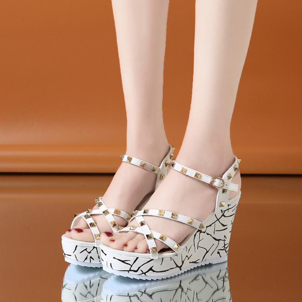 Summer Lady Fashion Wedge High Heels Sandals Elegant Rivets Women Heels Fashion Platform High Heels Wedge Sandals Female Shoes 22