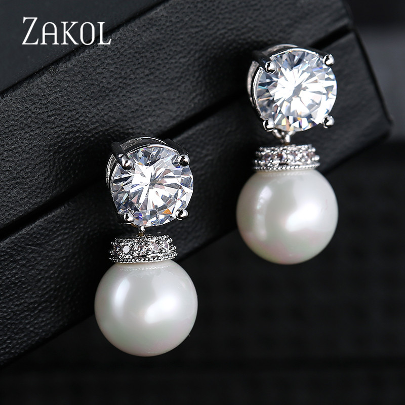 ZAKOL Cute Round Zirconia Shape Stud Earrings Imitation Pearls Women Jewelry For Party FSEP2004