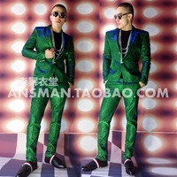 Hot 2018 New Men slim singer Color Electro blue green flash power desuit Suits plus size formal dress costumes clothing