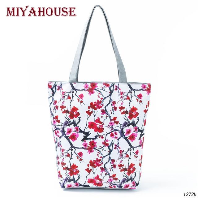 8c595b067516f Miyahouse Chinese Style Print Women Shoulder Bag Summer Beach Bag Female  Canvas Tote Handbag Lady New Design Casual Shopping Bag