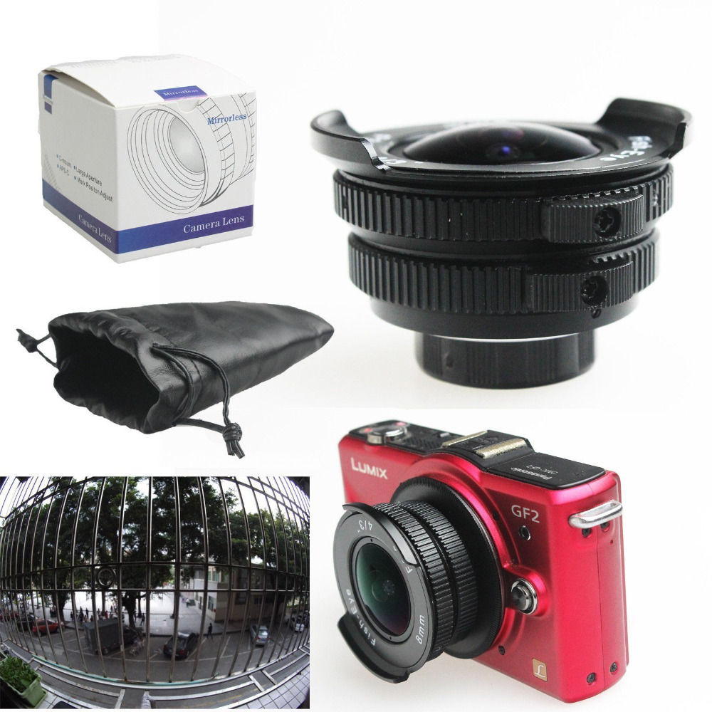 8mm f/3.8 C mount 4/3 Fisheye CCTV camera Lens for Micro 4/3 M4/3 E-PL7 M1 GH4 OM-D C kata d light marvelx 30 dl 4 3 pouch for camera