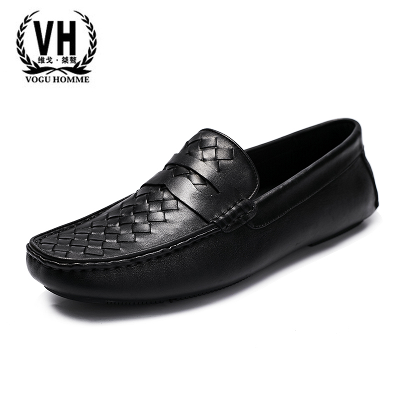 Loafer shoes leather breathable woven Doug men set foot pedal British men's lazy Europe driving shoes