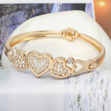 Vintage Simple Gold Silver Love Crystal Heart Bow Knot Bracelet  Hand Chain Jewelry Women Girls Gift BL0269
