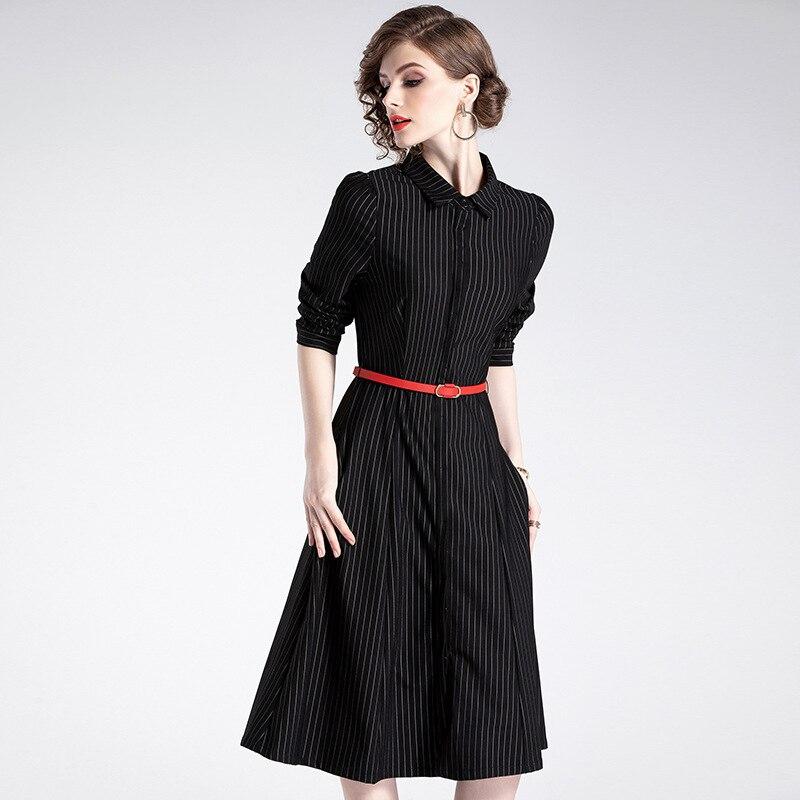 Pour Robe Taille Maxi 2019 D906010 Rayé Printemps Noir Nouveau Revers Vente 2018 Unique Vêtements Une De Poitrine Femmes Femme ZE5qWccFw