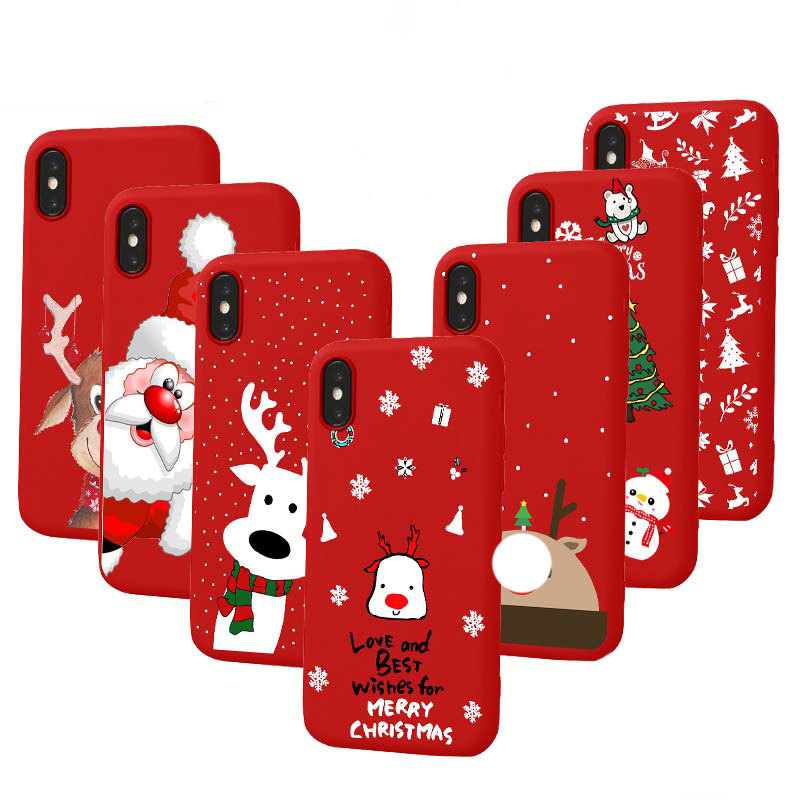 Christmas Phone Case.Christmas Phone Case For Iphone 6 6s 7 8 Plus X Xr Xs Max Cute Cartoon Xmas Santa Claus Elk Soft Silicone Case For Iphone 7 Capa