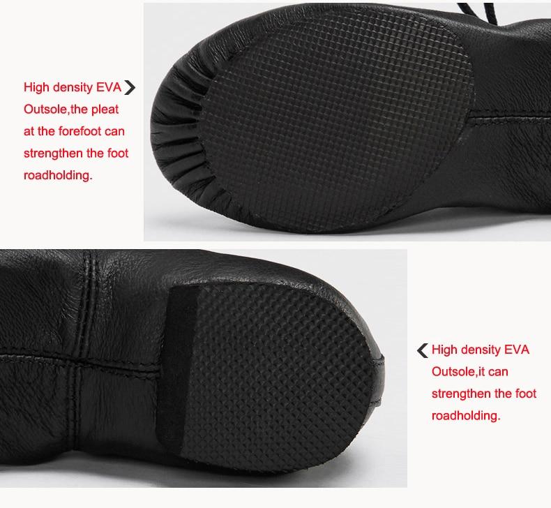 Högkvalitativa Pig Leather Lace Up Jazz Dance Shoes Mjuk Ballett - Gymnastikskor - Foto 6